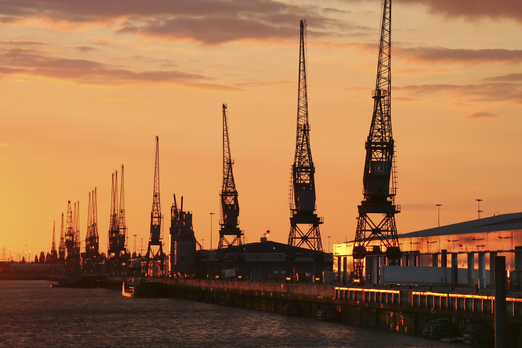 Southampton Docks at sunset