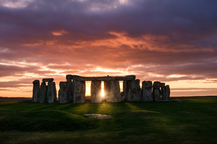 Colorful sunset over Stonehenge